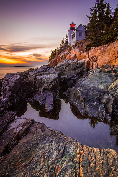 Bass Harbor Head Lighthouse at Sunset