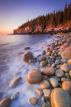 First light of the day on Boulder Beach and Otter Cliffs - Acadia National Park